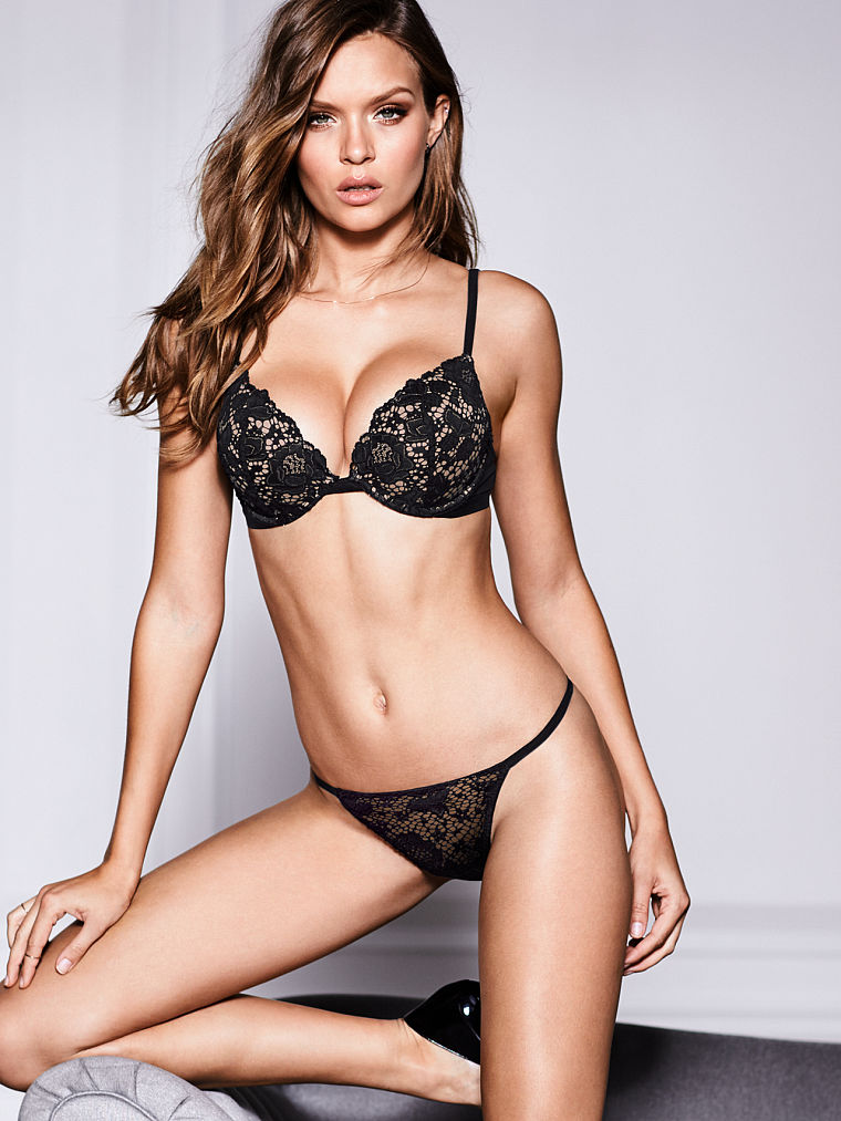 Beautiful Victoria's Secret Lingerie Fashion Model Josephine Skriver Modeling In Beautiful Victoria's Secret Push Up Bras, Victoria's Secret Panties, And Sexy Victoria's Secret Lingerie.