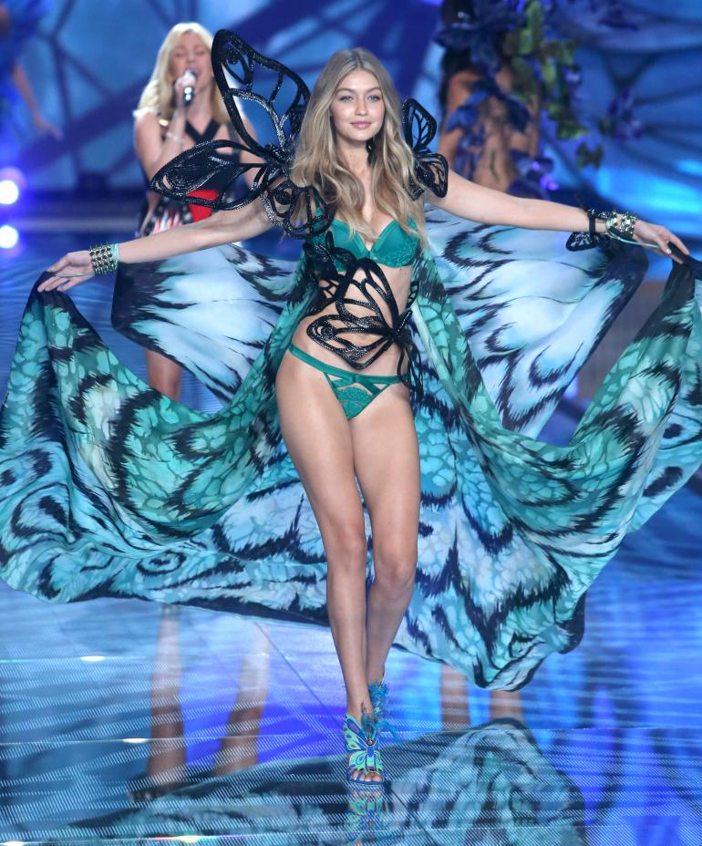 Beautiful Blonde Victoria's Secret Lingerie Model Gigi Hadid Modeling For The Victoria's Secret Fashion Show In New York Modeling As One Of The Highest Paid Models In The World.