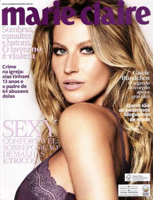 Beautiful Model Gisele Bundchen Modeling For Marie Claire Brazil Magazine Wearing Sexy Purple Lingerie For Marie Claire Brazil Fashion Editorial