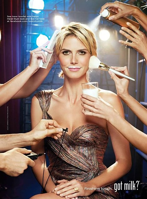Beautiful Blonde Female German Model Heidi Klum Modeling For The Heidi Klum Got Milk Campaign Drinking Milk For Her Supermodel Fit And Healthy Body
