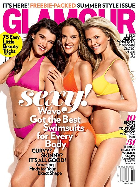Beautiful Blonde Female Model Brooklyn Decker Modeling For The Cover Of Glamour Magazine Wearing Beautiful Sexy Yellow Bikinis With Models Alessandra Ambrosio And Crystal Renn Photographed By Matthias Vriens-McGrath