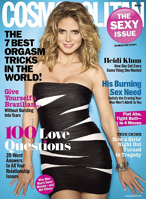 Beautiful Blonde Female Model Heidi Klum Modeling For The Cover Of Cosmopolitan Magazine Wearing Beautiful Black Dress Photographed By Cliff Watts As One Of The Most Highly Paid Models In The World