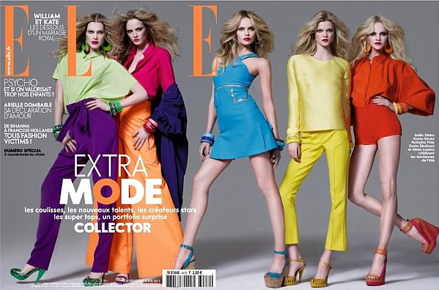 Beautiful Models Daria Strokous On The Cover Of Elle France Magazine Modeling With Models Natasha Poly, Kasia Struss, Iselin Steiro, And Ginta Lapina