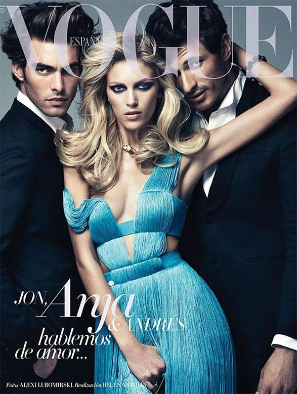 Beautiful Blonde Model Anja Rubik Modeling In A Beautiful Blue Dress For The Cover Of Vogue Spain Magazine Photographed By Alexi Lubomirski For Vogue Spain Magazine Editorials.