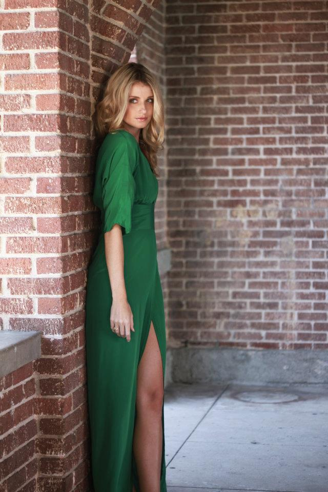 Beautiful Blonde ZARZAR MODEL Jessica Paterson Modeling In Beautiful Green Dresses For High Fashion Ads.