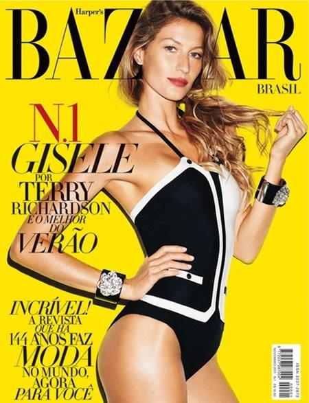 Beautiful Brazilian Model Gisele Bundchen Modeling For The Cover Of Harper's Bazaar Brazil Magazine In Beautiful Swimsuits Photographed By Terry Richardson For Harper's Bazaar Brazil (Brasil) Magazine Editorials.