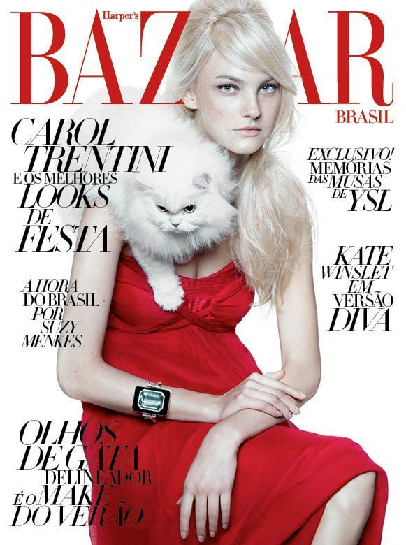 Beautiful Model Caroline Trentini Modeling For The Cover Of Harper's Bazaar Brazil Magazine In Beautiful Red Dresses Photographed By Gui Paganini For Harper's Bazaar Brazil (Brasil) Magazine Editorials.