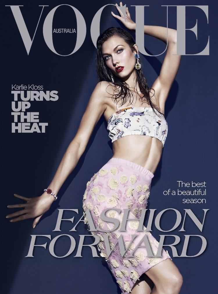Beautiful Model Karlie Kloss Modeling For The Cover Of Vogue Australia Magazine Photographed By Kai Z Feng For Vogue Australia Magazine Editorials.