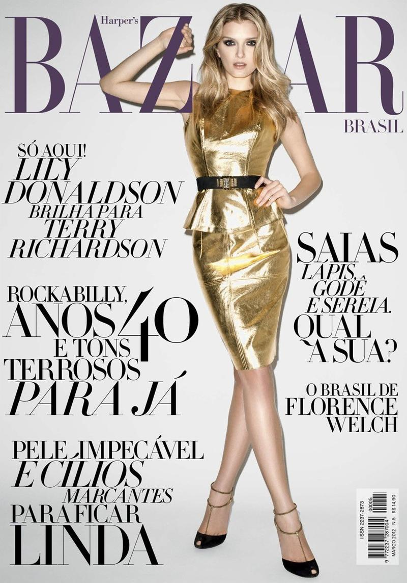 Beautiful Model Lily Donaldson Modeling For The Cover Of Harper's Bazaar Brazil Magazine In Beautiful Gold Skirts And Black Heels Photographed By Terry Richardson For Harper's Bazaar Brazil (Brasil) Magazine Editorials.