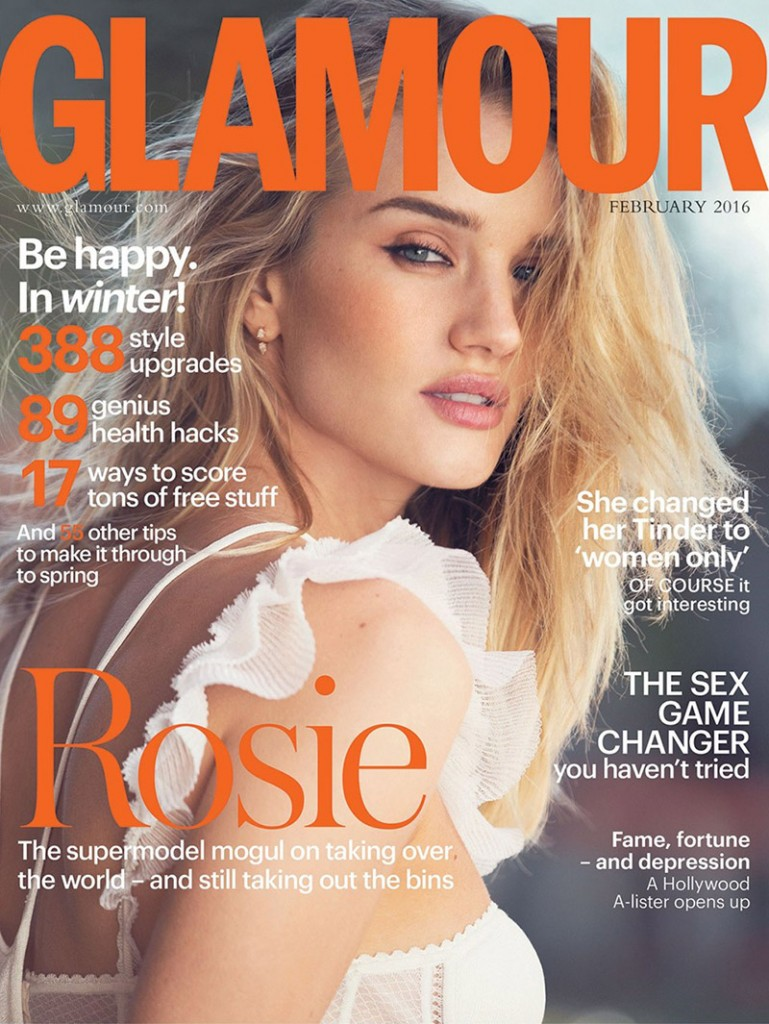 Beautiful Blonde British Model Rosie Huntington-Whiteley Modeling For The Cover Of Glamour United Kingdom (Glamour UK) Fashion Modeling As One Of The Highest Paid Models In The World. The World's Highest Paid Models. The Top Earning Models In The World.