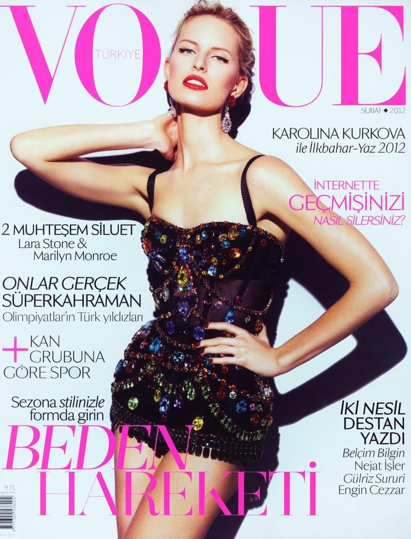 Beautiful Blonde Model From Czechoslovakia Karolina Kurkova Modeling For The Cover Of Vogue Turkey Magazine (Vogue Turkiye) Modeling In Beautiful Black Dresses Photographed By Alexei Hay For Vogue Turkey Fashion Magazine Editorials