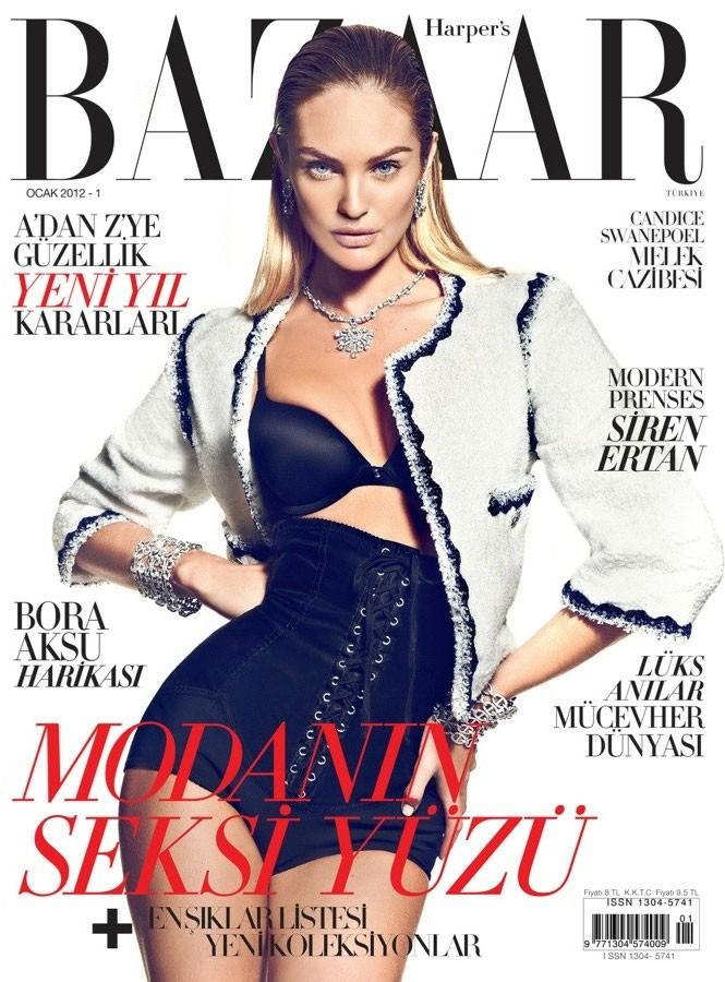 Beautiful Victoria's Secret Blonde Model Candice Swanepoel Modeling For The Cover Of Harper's Bazaar Turkey In Dark Blue Sexy Bras Photographed By Photographer Koray Birand For Harper's Bazaar Turkey Fashion Editorials