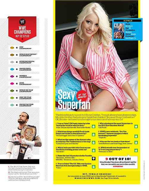 Beautiful Blonde ZARZAR MODELS Brooke Rilling Modeling For World Wrestling Entertainment WWE Magazine As The Superfan Model Of The Month For The Entire United States Of America For May 2012