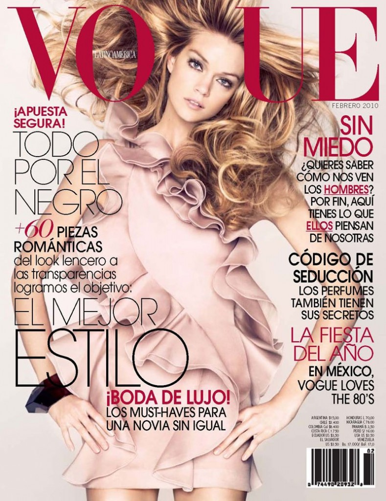 Beautiful Victoria's Secret Blonde Model Lindsay Ellingson Modeling For The Cover Of Vogue Latinoamerica (Mexico Peru Costa Rica Chile) Photographed By Nino Munoz And Styled By Fashion Editor Sarah Gore-Reeves