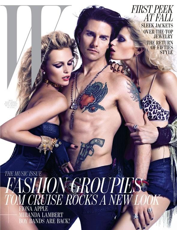Beautiful Models Edita Vilkeviciute And Abbey Lee Kershaw Modeling With Famous Actor Tom Cruise For The Cover Of W Magazine Photographed By Mario Sorrenti For W Magazine Fashion Editorials
