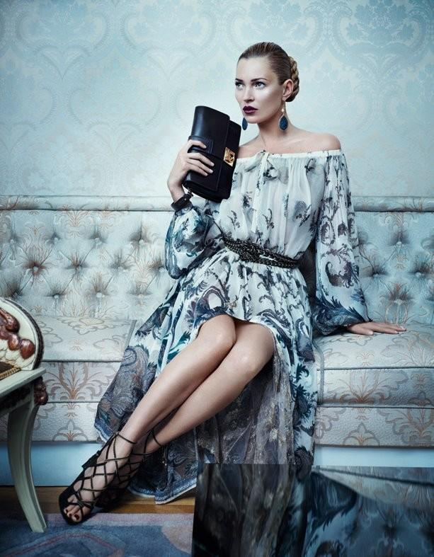 Beautiful British Model Kate Moss Modeling For Salvatore Ferragamo Fall Winter Fashion Advertising Campaign Modeling In Salvatore Ferragamo Dresses As One Of The Highest Paid Models In The World