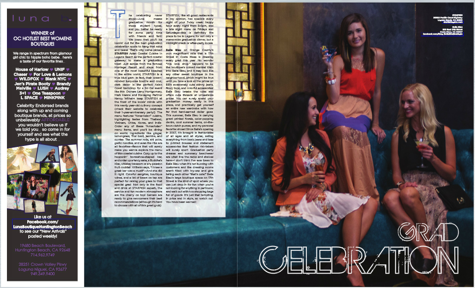 Beautiful Blonde And Brunette Models Modeling In Starfish Restaurant Laguna Beach Orange County Southern California For Locale Magazine Summer 2012 Fashion Editorials. Models Selected By ZARZAR MODELING AGENCY. Cia Maritima Swimwear article.