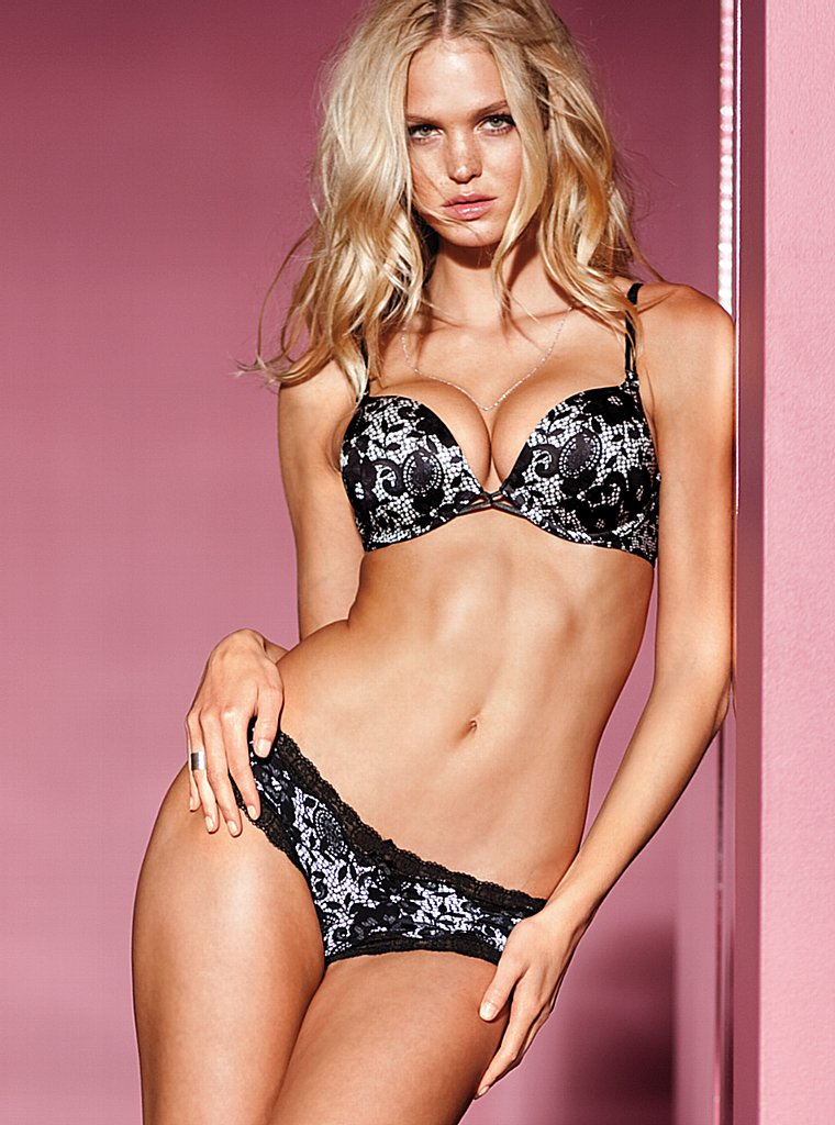 Beautiful Blonde Victoria's Secret Model Erin Heatherton Modeling In Sexy Push Up Bras Panties And Lingerie For Victoria's Secret Ads As One Of The Highest Paid Models In The World.
