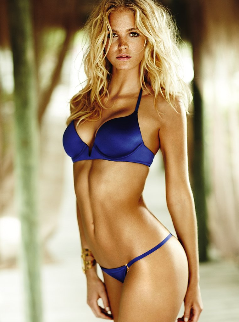 Beautiful Blonde Victoria's Secret Model Erin Heatherton Modeling In Sexy Blue Bras Panties Lingerie As One Of The Highest Paid Models In The World.