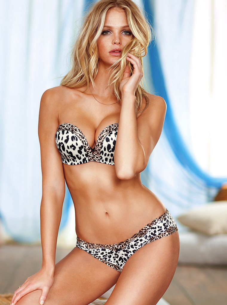 Beautiful Blonde Victoria's Secret Model Erin Heatherton Modeling In Sexy Black White Leopard Bras Panties Lingerie For Victoria's Secret Ads As One Of The Highest Paid Models In The World.