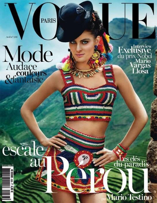 Beautiful Brunette Brazilian Model Isabeli Fontana Modeling In Peru South America Modeling For The Cover Of Vogue Paris Magazine And Vogue Paris Fashion Editorials Photographed By Peruvian Photographer Mario Testino Makeup By Makeup Artist Charlotte Tilbury