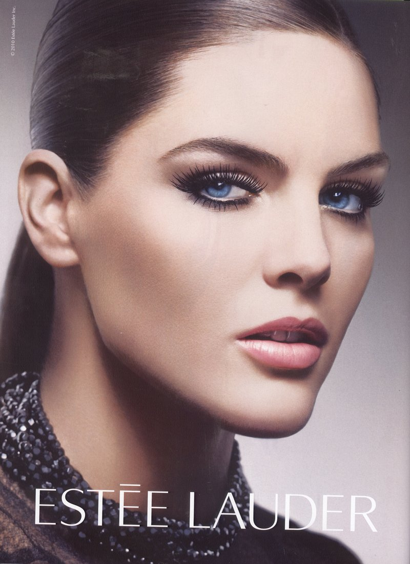 Beautiful Brunette American Model Hilary Rhoda Modeling With A Beautiful Perfect Ponytail For Estee Lauder Cosmetics Advertisements And Estee Lauder Fashion Ads. How To Make A Perfect Ponytail For Models.