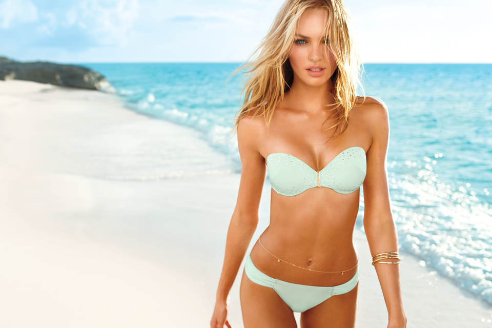Beautiful Blonde Victoria's Secret Model Candice Swanepoel Modeling In Sexy  Victoria's Secret Bikinis For Fashion Advertisements