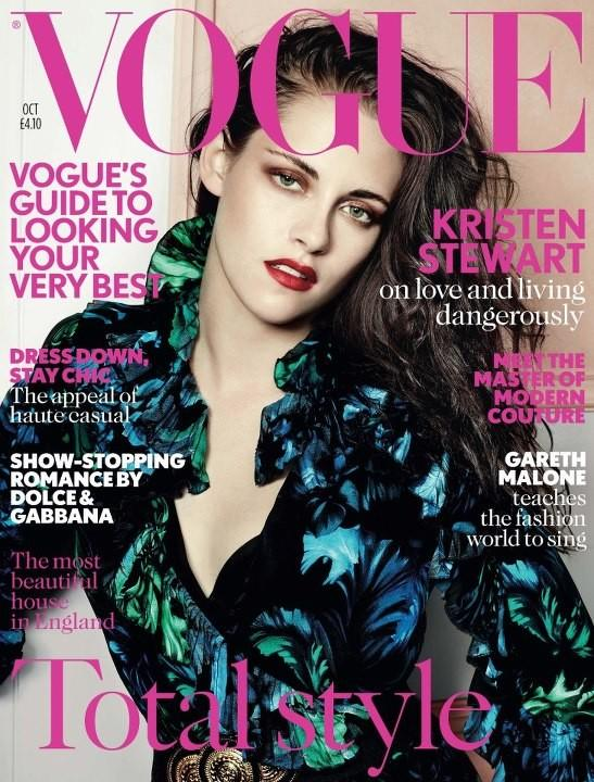 Beautiful Brunette Actress Kristen Stewart Modeling For The Cover Of British Vogue Magazine Modeling As The Highest Paid Actress In The World For British Vogue Fashion Editorials. Actress Kristen Stewart Photographed By Mario Testino.