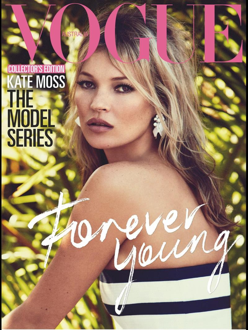 Beautiful Blonde British Model Kate Moss Modeling For The Cover Of Vogue Australia Magazine And Vogue Australia Fashion Editorials The Model Series Modeling As The 2nd Highest Paid Model In The World With Model Earnings For The Year Of $9.2 Million United States Dollars.