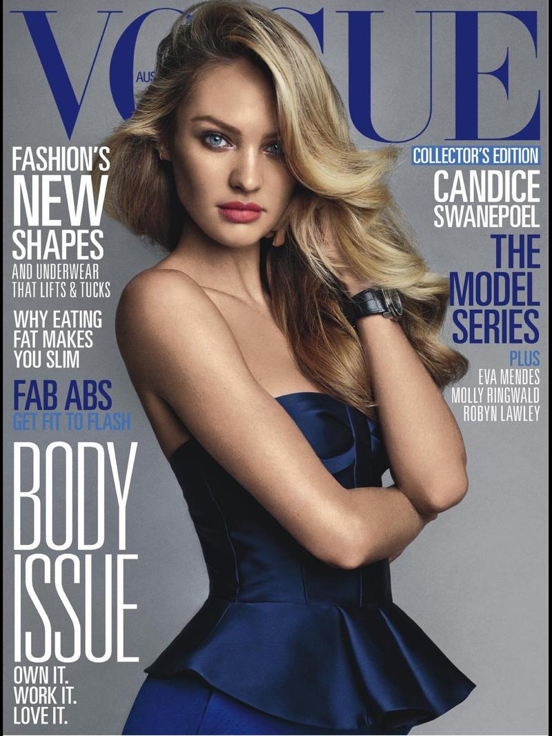 Beautiful Blonde South African Model Candice Swanepoel Modeling For The Cover Of Vogue Australia Magazine Modeling For Vogue Australia Fashion Editorials The Model Series Photographed By Victor Demarchelier.