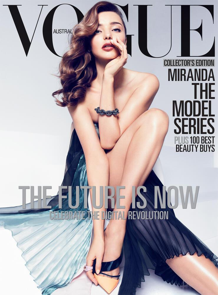 Beautiful Brunette Australian Model Miranda Kerr Modeling For The Cover Of Vogue Australia Magazine And Vogue Australia Fashion Editorials The Model Series Modeling As The 7th Highest Paid Model In The World With Model Earnings For The Year Of $4 Million United States Dollars.