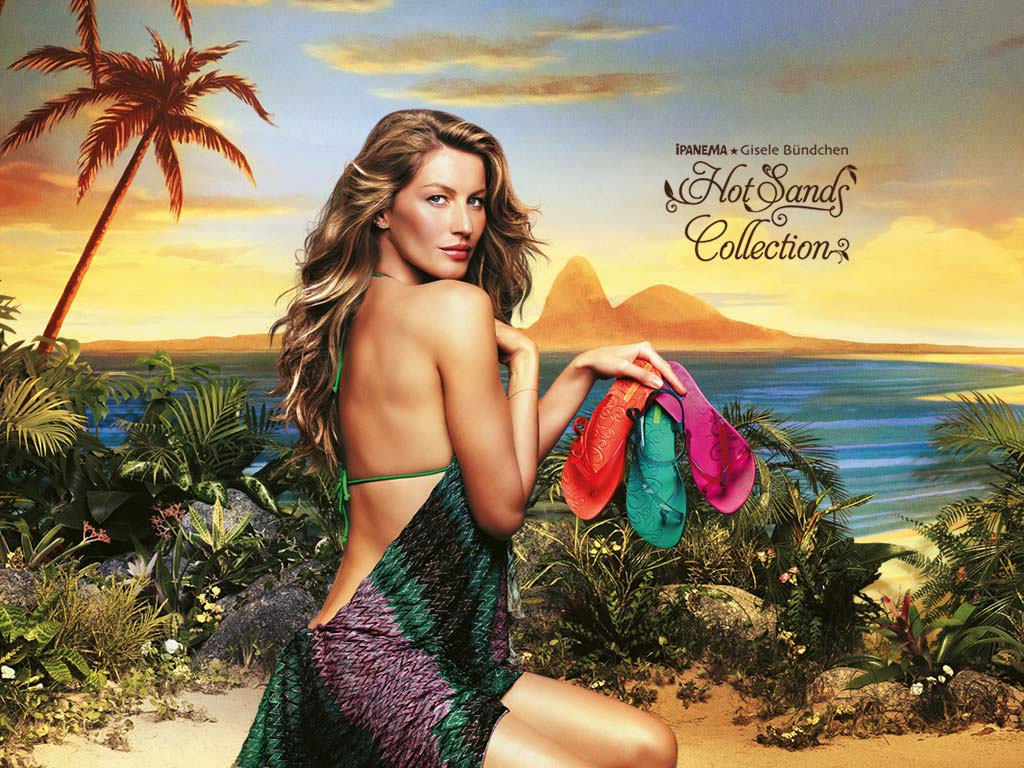 Beautiful Blonde Brazilian Model Gisele Bundchen Modeling For Ipanema Gisele Bundchen Hot Sands Collection Fashion Ads Modeling As The Highest Paid Model In The World Earning $42 Million Dollars Over The Past Year.