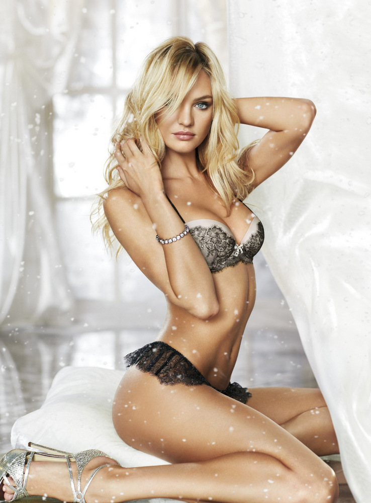 Beautiful South African Blonde Victoria's Secret Model Candice Swanepoel Modeling In Beautiful Sexy Victoria's Secret Black Lingerie Modeling As The 10th Highest Paid Model In The World Earning $3.1 Million Dollars Over The Past Year.