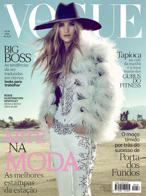 Beautiful Blonde British Model And Actress Rosie Huntington-Whiteley Modeling For The Cover Of Vogue Brazil (Vogue Brasil) Magazine Modeling As One Of The Highest Paid Models In The World.