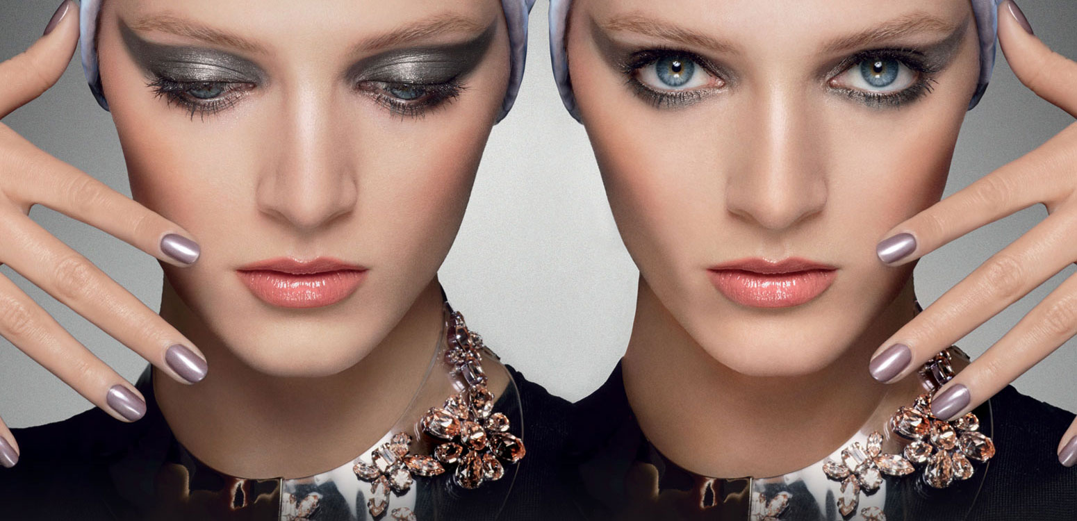 Beautiful Dior Model Wearing House Of Dior Mystic Metallics Makeup Collection For Beautiful Dior Makeup Ads and Dior Metallics Makeup Advertisements. The House Of Dior Metallics Makeup Look And House Of Dior Mystic Metallics Beauty Look.