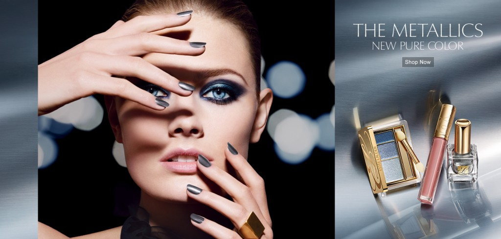 Beautiful Estee Lauder Model Wearing Estee Lauder The Metallics New Pure Color Makeup For Beautiful Makeup Ads and Metallics Makeup Advertisements. The Estee Lauder Metallics Makeup Look And Estee Lauder Metallics Beauty Look.