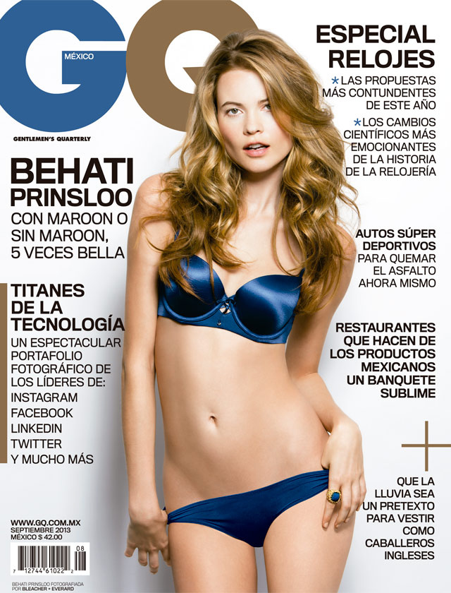 Beautiful Victoria's Secret Blonde Model Behati Prinsloo From Namibia Africa Modeling For The Cover Of GQ Mexico Magazine Modeling In Sexy Blue Lingerie For GQ Fashion Editorials Modeling As One Of The Highest Paid Models In The World.