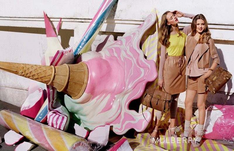 Beautiful Blonde Swedish Model Frida Gustavsson And American Blonde Model Lindsey Wixson Modeling For The Mulberry Advertising Campaign.