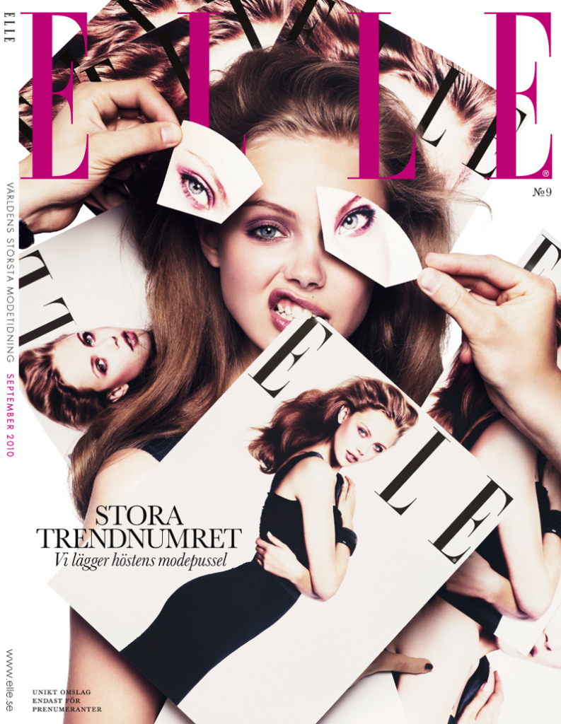 Beautiful Famous Swedish Blonde Model With Beautiful Blue Eyes Frida Gustavsson Modeling For The Cover Of Elle Sweden Magazine Modeling As One Of The Highest Paid Models In The World.