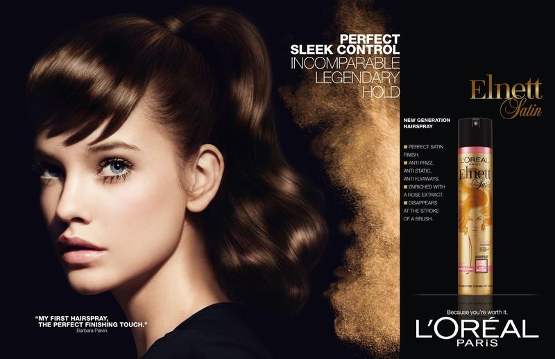 Beautiful Brunette Victoria's Secret Model Barbara Palvin Modeling For L'Oreal Paris Elnett Hairspray Ads Wearing Beautiful L'Oreal Makeup. Victoria's Secret Model Barbara Palvin Had Her Beautiful Brunette Hair Styled By Hair Stylist Daniel Rull And Her Beautiful Makeup Also Done By Makeup Artist Daniel Rull.