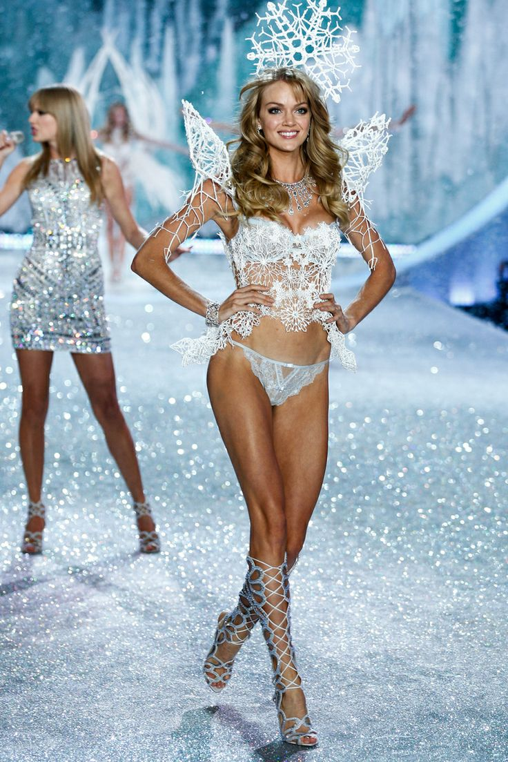 The Victoria's Secret Fashion Show Featuring Beautiful American Victoria's Secret Model Lindsay Ellingson Modeling For Victoria's Secret In Sexy White Victoria's Secret Lingerie After Her Successful Victoria's Secret Fittings.