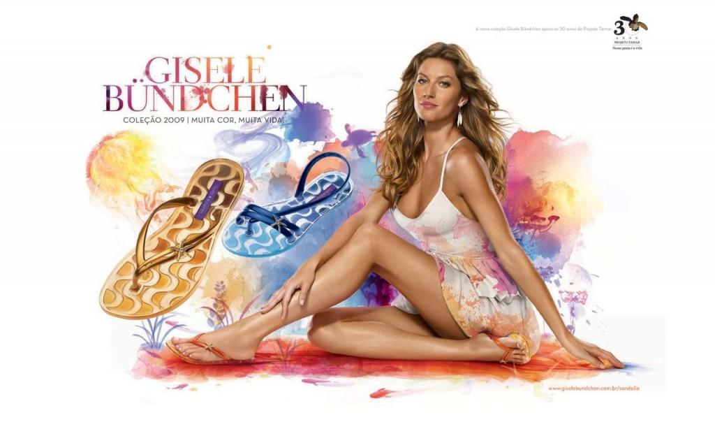 Beautiful Brazilian Fashion Model Gisele Bundchen Modeling For Grendene Ipanema Advertisements And Ipanema Gisele Bundchen Fashion Ads Modeling As The Highest Paid Model In Brazil (Brasil).
