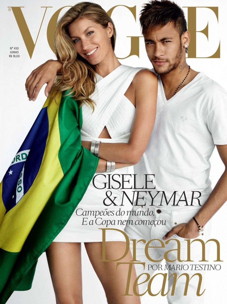 Beautiful Brazilian Fashion Model Gisele Bundchen Modeling With Brazilian Soccer (Futbol) Player Neymar Modeling For The Cover Of Vogue Brasil (Vogue Brazil) Modeling As The Highest Paid Model In The World.