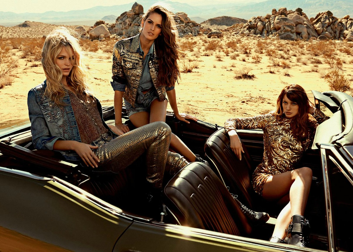 Beautiful Brazilian Fashion Models Izabel Goulart, Thairine Garcia, And Erin Heatherton (United States) Modeling For Colcci Fashion Ads And Colcci Fashion Advertisements.
