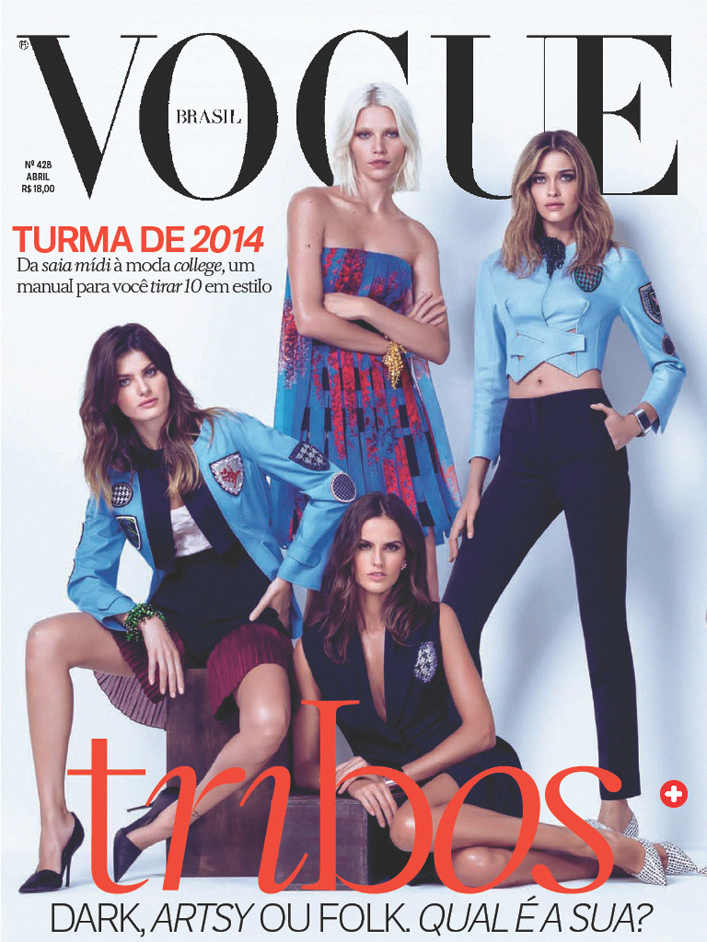 Brazilian Fashion Models Aline Weber, Ana Beatriz Barros, Isabeli Fontana, And Izabel Goulart Modeling For The Cover Of Vogue Brazil (Vogue Brasil) Magazine Modeling As The Highest Paid Brazilian Models In The World.