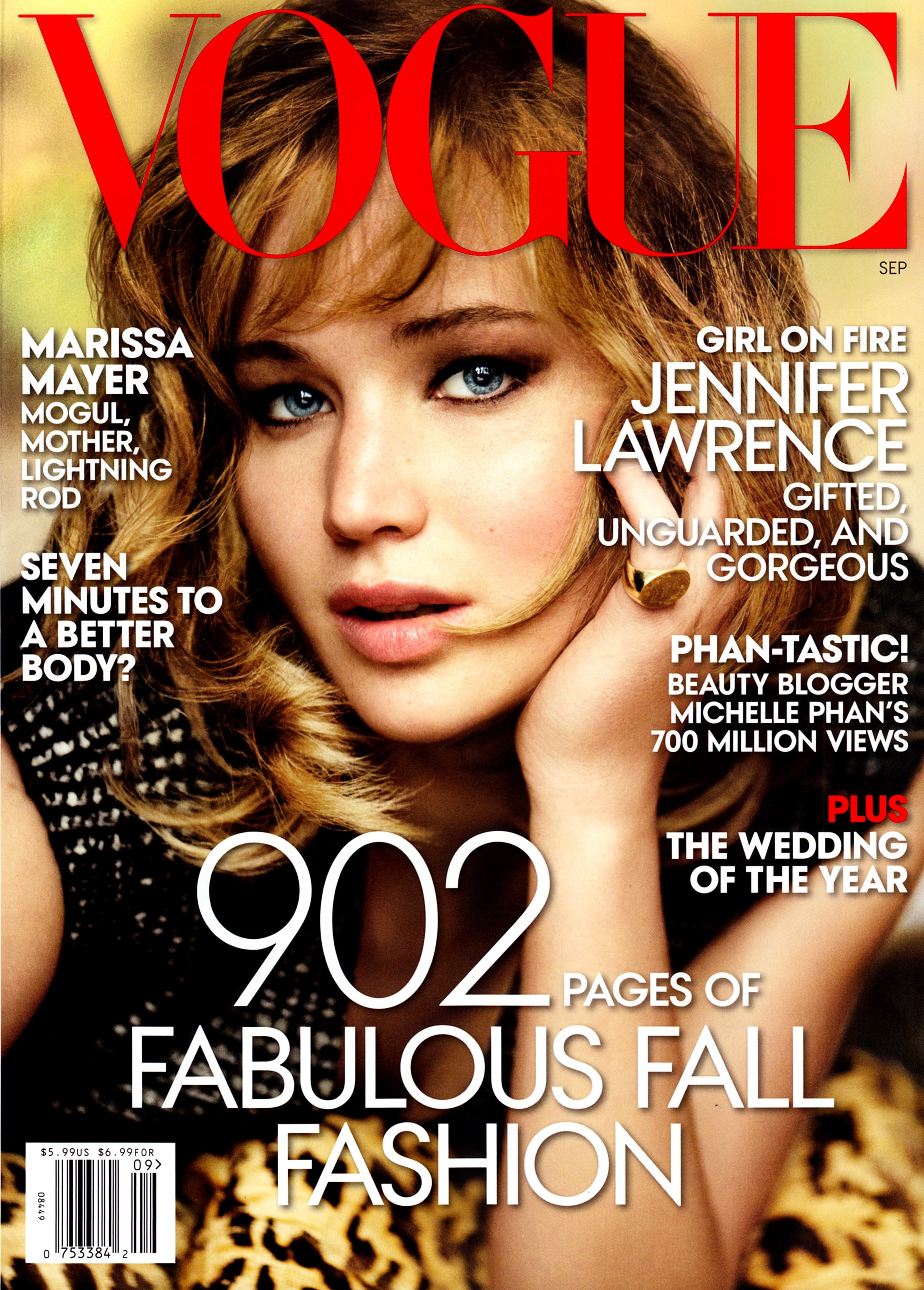 Beautiful American Actress Jennifer Lawrence Modeling For The Cover Of American Vogue Modeling As One Of The Highest Paid Actresses In The World With Acting Earnings Of $34 Million Dollars For The Year.