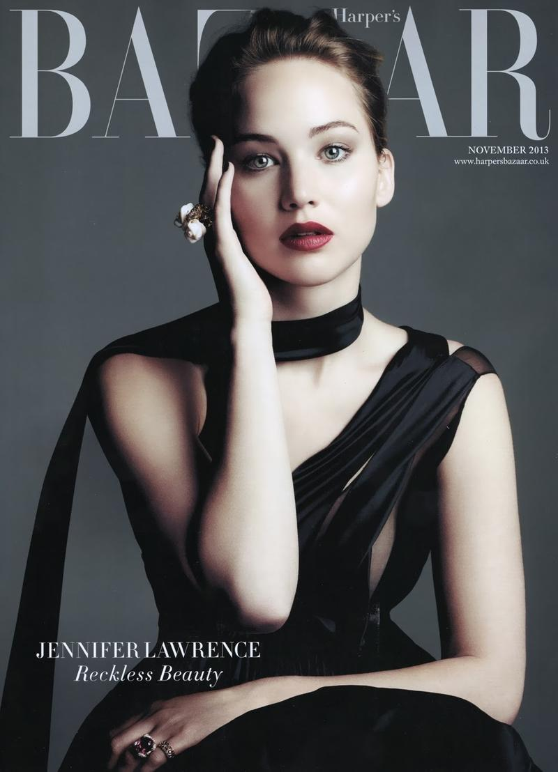 Beautiful American Actress Jennifer Lawrence Modeling For The Cover Of Harper's Bazaar UK (United Kingdom) Fashion Magazine Modeling As One Of The Highest Paid Actresses In The World With Earnings Of $34 Million Dollars For The Year.