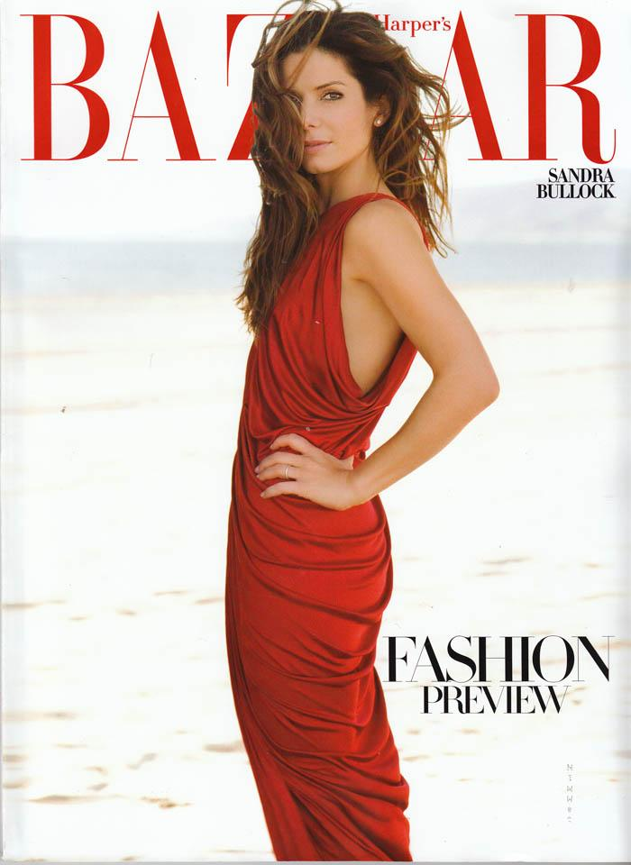Beautiful Brunette Actress Sandra Bullock Modeling For The Cover Of Harper's Bazaar Fashion Magazine. The Highest Paid Actresses In The World. The Highest Paid Actresses In Hollywood. The Top Earning Actresses In The World - Sandra Bullock With Acting Earnings Of $51 Million Dollars For The Year.