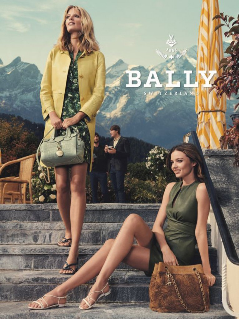 Beautiful Famous Brunette Fashion Model Miranda Kerr Modeling With Blonde Fashion Model Julia Stegner Modeling For Bally Fashion Ads And Bally Fashion Advertisements Modeling As One Of The Highest Paid Models In The World.
