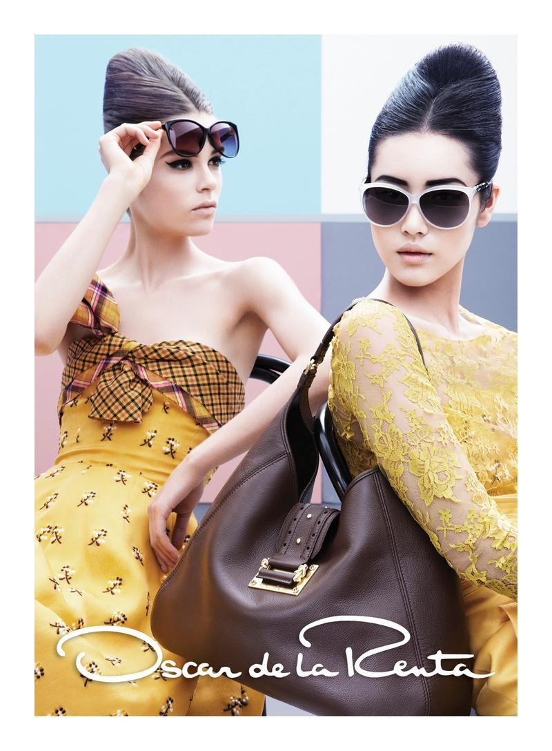 Beautiful Chinese Fashion Model Liu Wen Modeling With Fashion Model Caroline Brasch Nielsen (From Denmark) Modeling For Oscar de la Renta Fashion Ads And Fashion Advertisements.